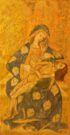 15 18: AVILA, SPAIN, APRIL - 18, 2016:The Pieta painting on the wood in Catedral de Cristo Salvador  by unknown artis of 15. cent.