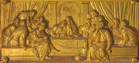 miracoli: ROME, ITALY - MARCH 9, 2016: The Last Supper altar bronze relief in Sanctuary of the Madonna dei Miracoli church by unknown artist.