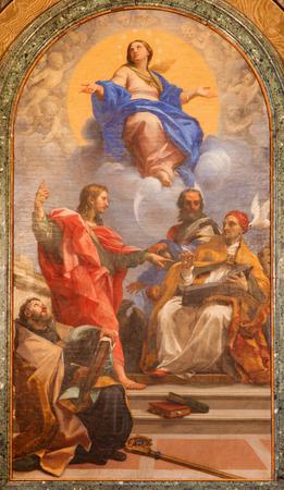 bap: ROME, ITALY - MARCH 9, 2016: The Immaculate Conception and the saints (John Ev., John Bap., Augustine, Gregory) by Carlo Maratta (1686) of Cybo chapel in church Basilica di Santa Maria del Popolo.