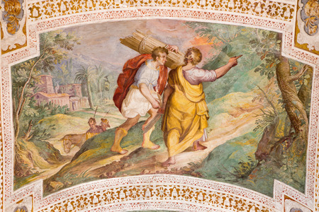 ROME, ITALY - MARCH 11, 2016: The Abraham and Isaac Going to the Sacrifice by P. Bril, and A. Viviani (1560–1620). Fresco from vault of stairs in Chiesa di San Lorenzo in Palatio ad Sancta Sanctorum.