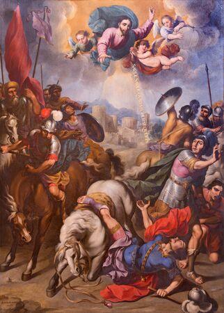 SEGOVIA, SPAIN, APRIL - 14, 2016: The Conversion of St. Paul painting by Ignacio de Ries (1612 - 1661) in Cathedral Nuestra Senora de la Asuncion y de San Frutos de Segovia.