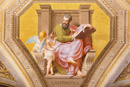evangelist: ROME, ITALY - MARCH 9, 2016: The fresco of St. Matthew the Evangelist in church Chiesa di Santa Maria in Aquiro by Cesare Mariani from (1826 - 1901 in neo-mannerist style. Editorial