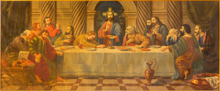 18 19: AVILA, SPAIN, APRIL - 19, 2016: The Last supper painting from 18. cent. in church Convento San Antonio by unknown artist.