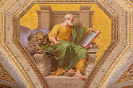 ROME, ITALY - MARCH 9, 2016: The fresco of St. Mark the Evangelist in church Chiesa di Santa Maria in Aquiro by Cesare Mariani from (1826 - 1901 in neo-mannerist style. Editorial