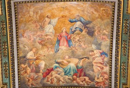 coronation: ROME, ITALY - MARCH 9, 2016: The Coronation of Virgin Mary ceiling fresco by Carlo Saraceni (1611 - 1617) in church Chiesa di Santa Maria in Aquiro in Annunciation chapel.