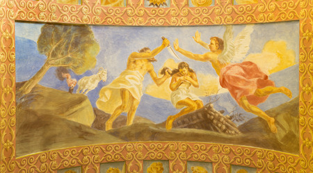 salesian: ROME, ITALY - MARCH 10, 2016: The fresco The Sacrifice of Isaac (1957-1965) in church Basilica di Santa Maria Ausiliatrice by the Salesian Don Giuseppe Melle.