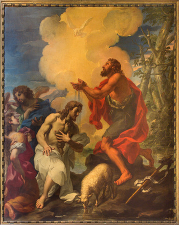 ROME, ITALY - MARCH 9, 2016: The painting Baptism of Christ in church by Giuseppe Ghezzi (1695 - 1696)  in church Chiesa di San Silvestro in Capite and The chapel of Holy Spirit.