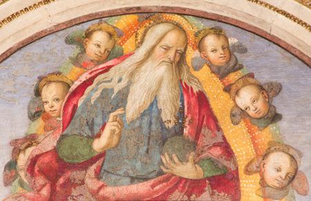 ROME, ITALIE - 9 mars 2016: La fresque Le Dieu le Père donne sa bénédiction par Aiuto del Pinturicchio (1489-1491) dans Basso della Rovere chapelle à l'église Basilique Santa Maria del Popolo. Éditoriale