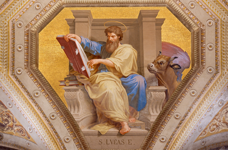 ROME, ITALY - MARCH 9, 2016: The fresco of St. Luke the Evangelist in church Chiesa di Santa Maria in Aquiro by Cesare Mariani from (1826 - 1901 in neo-mannerist style. Sajtókép