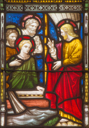 windowpane: ROME, ITALY - MARCH 9. 2016: The calling of the twelve apostles on the windowpane of All Saints Anglican Church by workroom Clayton and Hall (19. cent.)