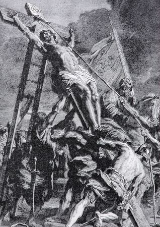 lithography: SEBECHLEBY, SLOVAKIA - JULY 27, 2015: The lithography of Elevation of the Cross (1906) after Rubens in the book Zivot Jezisa Krista bozskeho Spasitela naseho by unknown artist printed in Trnava.