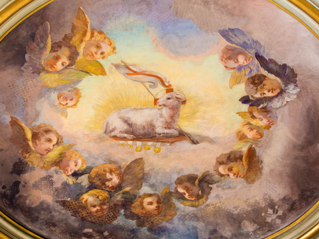 lamb of god: ROME, ITALY - MARCH 11, 2016: The Lamb of God fresco in the cupola of Chapel of the Assumption in church Basilica di Santi Giovanni e Paolo by unknown artist of 18. cent.