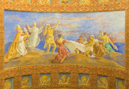 melle: ROME, ITALY - MARCH 10, 2016: The fresco The Jews Gathering the Manna in the Desert (1957-1965) in church Basilica di Santa Maria Ausiliatrice by the Salesian Don Giuseppe Melle. Editorial