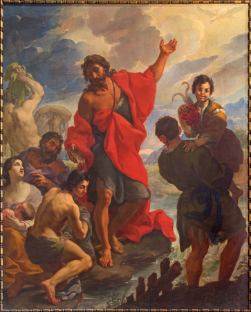 bible altar: ROME, ITALY - MARCH 9, 2016: The St. John baptizes the Crowds in church by Giuseppe Ghezzi (1695 - 1696)  in church Chiesa di San Silvestro in Capite and The chapel of Holy Spirit.