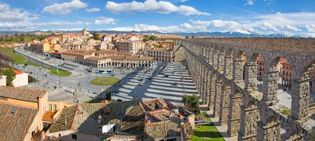 SEGOVIA, SPAIN, APRIL - 13, 2016: Aqueduct of Segovia and Plaza del Artilleria with the town. Editorial