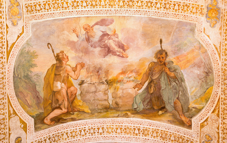 sacrifices: ROME, ITALY - MARCH 11, 2016: Sacrifices of Cain and Abel by V. Salimbeni (1568 - 1613) and B. Croce (1558 - 1628). Fresco from stairs in church Chiesa di San Lorenzo in Palatio ad Sancta Sanctorum.