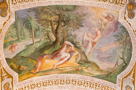 jacob: ROME, ITALY - MARCH 11, 2016: The Jacobs Ladder by Antonio Viviani (1560–1620). Fresco from the vault of stairs in church Chiesa di San Lorenzo in Palatio ad Sancta Sanctorum. Editorial