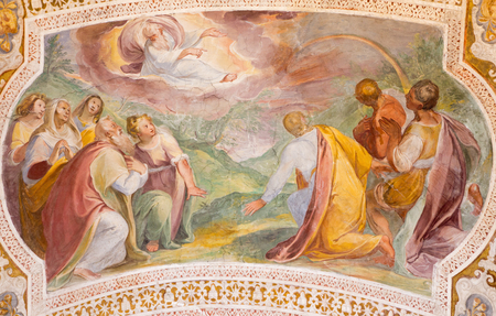 covenant: ROME, ITALY - MARCH 11, 2016:  Gods Covenant with Noah in the Rainbow by Baldassare Croce  (1558 - 1628).  Fresco from vault of stairs in church Chiesa di San Lorenzo in Palatio ad Sancta Sanctorum.