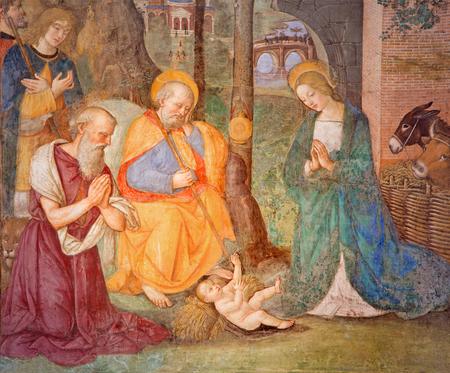 christendom: ROME, ITALY - MARCH 9, 2016: The fresco Nativity with the St. Jerome by Bernardino Pinturicchio (1488 - 1490) in Rovere chapel in church Basilica di Santa Maria del Popolo. Editorial