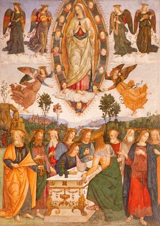 ROME, ITALY - MARCH 9, 2016: The fresco The Assumption of Virgin Mary by helper of Aiuto del Pinturicchio (1489 - 1491) in Basso della Rovere chapel in church Basilica di Santa Maria del Popolo.
