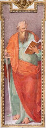 ROME, ITALY - MARCH 12, 2016: The St. Paul the Apostle fresco in church Basilica San Giovanni dei Fiorentini by Nicolo Circignani (1590) in Scarlatti chapel.