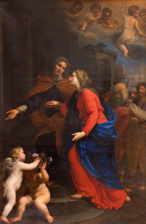 visitation: ROME, ITALY - MARCH 9, 2016: The Visitation by Giovanni Maria Morandi (1659) in right transept of church Basilica di Santa Maria del Popolo.