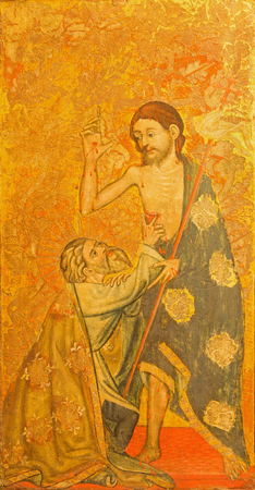 15 18: AVILA, SPAIN, APRIL - 18, 2016: La duda de Santo Tomas - The Doubt of St. Thomas painting on the wood in Catedral de Cristo Salvador by unknown artis of 15. cent.