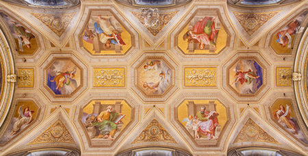evangelist: ROME, ITALY - MARCH 9, 2016: The ceiling fresco with the Four Evangelist in church Chiesa di Santa Maria in Aquiro by Cesare Mariani from (1826 - 1901 in neo-mannerist style.