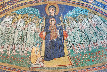 commissioned: ROME, ITALY - MARCH 10, 2016: The apse mosaic of Madonna among the angels in byzantine style in Basilica di Santa Maria in Dominica from the 9. cent. commissioned by Pope Paschal I by unknown artist.