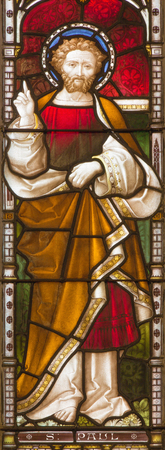 apostle: ROME, ITALY - MARCH 9. 2016: St. Paul the apostle on the windowpane of All Saints Anglican Church by workroom Clayton and Hall (19. cent.) Editorial