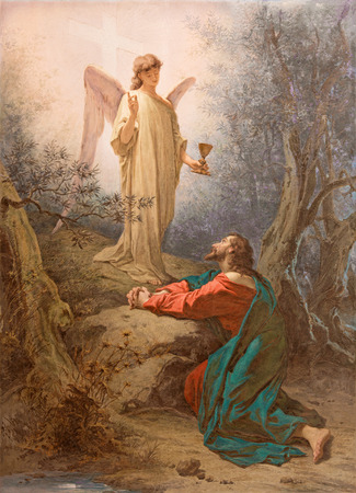ROME, ITALY - MARCH 11, 2016: The painting Christ in the Garden of Gethsemane by Francesco Grandi (1879) in Chapel of St Paul of the Cross of church Basilica di Santi Giovanni e Paolo.