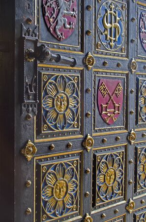 christendom: PRAGUE, CZECH REPUBLIC - MARCH 9, 2004 - The gate of gothic cathedral on Vysehrad. Editorial