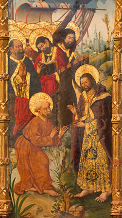 15 18: AVILA, SPAIN, APRIL - 18, 2016: The painting Mission of St. Paul by St. Peter and the apostles by Fernando Gallego (15. cent.) in Catedral de Cristo Salvador in chapel Capilla de San Pedro.