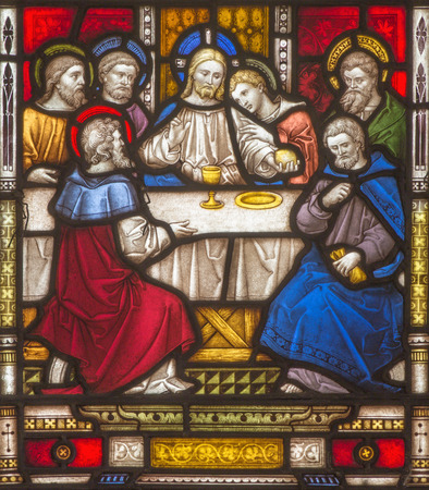 workroom: ROME, ITALY - MARCH 9. 2016: The Last Supper on the windowpane of All Saints Anglican Church by workroom Clayton and Hall (19. cent.)