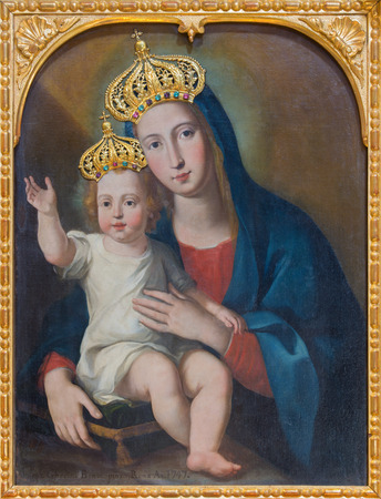 trinita: ROME, ITALY - MARCH 12, 2016: Madonna with the child (unknown artist) early in used in Palazzo Capranica. It was given to Confraternity in 1558 in church Chiesa id Santissima Trinita dei Pellegrini.