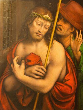 AVILA, SPAIN, APRIL - 18, 2016: The painting Ecce Homo by Francisco de Llianos (Copy of Leonardo da Vinci) from 16. cent. in Catedral de Cristo Salvador.