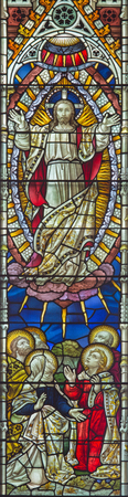 new testament: ROME, ITALY - MARCH 9. 2016: The Ascension of the Lrod on the windowpane of All Saints Anglican Church by workroom Clayton and Hall (19. cent.)