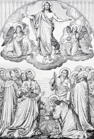 new testament: SEBECHLEBY, SLOVAKIA - JULY 27, 2015: The Ascension of the Lord lithography by unknown artist in the book Zivot Jezisa Krista bozskeho Spasitela naseho printed in Trnava 1907 .