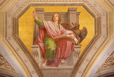 evangelist: ROME, ITALY - MARCH 9, 2016: The fresco of St. John the Evangelist in church Chiesa di Santa Maria in Aquiro by Cesare Mariani from (1826 - 1901 in neo-mannerist style.