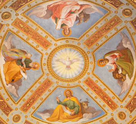 evangelist: ROME, ITALY - MARCH 9, 2016: The Holy Spirit and Four Evangelist fresco in cupola by Casimirio de Rossi (1860) in cappella Feoli chapel  in church Basilica di Santa Maria del Popolo.