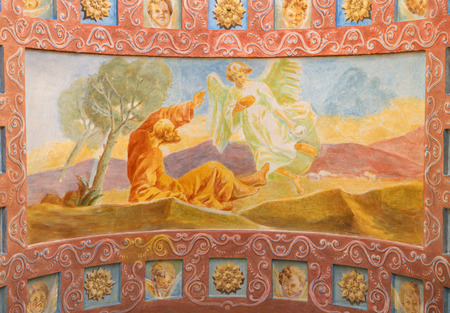 salesian: ROME, ITALY - MARCH 10, 2016: The fresco The Prophet Elijah Receiving Bread and Water from an Angel (1957-1965) in church Basilica di Santa Maria Ausiliatrice by the Salesian Don Giuseppe Melle.