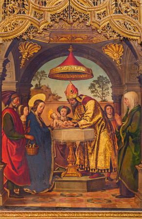 bible altar: AVILA, SPAIN, APRIL - 18, 2016: The paintig of The Presentation in the Temple on the main altar of Catedral de Cristo Salvador by Juan de Borgona (1512)