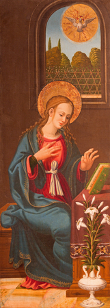 annunciation of mary: AVILA, SPAIN, APRIL - 18, 2016: Virgin Mary (part of Annunciation) painting on wood as the left door of triptych in Catedral de Cristo Salvador in Capilla del Cardenal by unknown artis of 16. cent. Editorial
