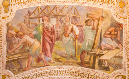 ROME, ITALY - MARCH 11, 2016: The Construction of Noahs Ark by Baldassare Croce  (1558 - 1628). Fresco from the vault of stairs in church Chiesa di San Lorenzo in Palatio ad Sancta Sanctorum.