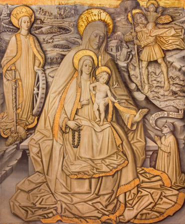 sain: AVILA, SPAIN, APRIL - 18, 2016: The painting of Sain Ann, Madonna with the Child, st. Christopher and st. Catharine in Catedral de Cristo Salvador (Capilla Cardenal) by Sanson Florentino (15. cent.).