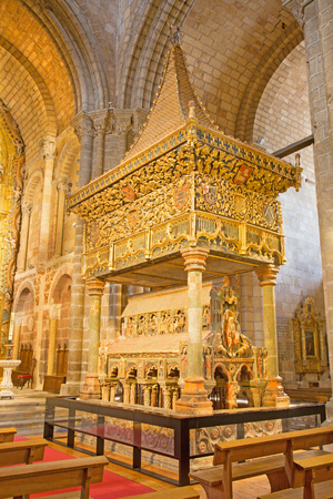 polychrome: AVILA, SPAIN, APRIL - 19, 2016: The romanesque polychrome funeral memorial Cenotafio de los Santos Hermanos Martires church Basilica de San Vicente from 12. cent. with the baldachin from 15. cent.