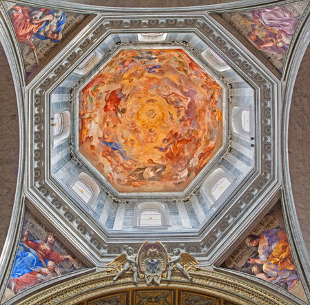 old testament: ROME, ITALY - MARCH 9, 2016: The fresco Our Lady in Glory and four women of Old Testament Ruth, Judith, Esther and Deborah by Raffaele Vanni (1658) in cupola of Basilica di Santa Maria del Popolo.