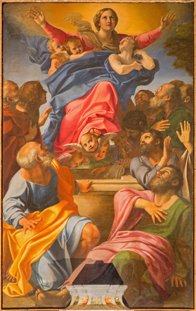 assumption: ROME, ITALY - MARCH 9, 2016: The  Assumption of Virgin Mary by  of Basilica di Santa Maria del Popolo by Annibale Carracci (1560 - 1609).
