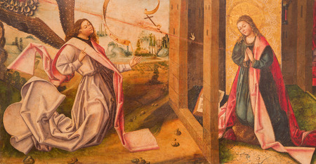 gabriel: AVILA, SPAIN, APRIL - 18, 2016: The Annunciation painting on the wood in Catedral de Cristo Salvador in Capilla del Cardenal by unknown artist from 15. cent.