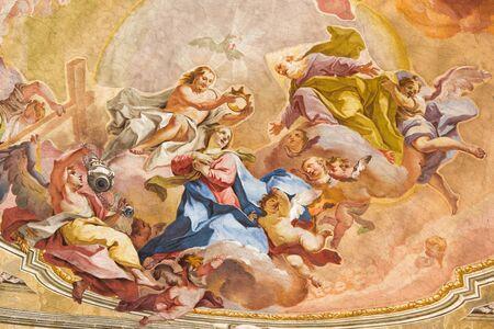 BRESCIA, ITALY - MAY 23, 2016: The Coronation of Virgin Mary fresco on the wault of presbytery of SantAfra church Antonio Mazza e Carlo Innocenzo Carloni by Sante Cattaneo (18. cent.) Editorial